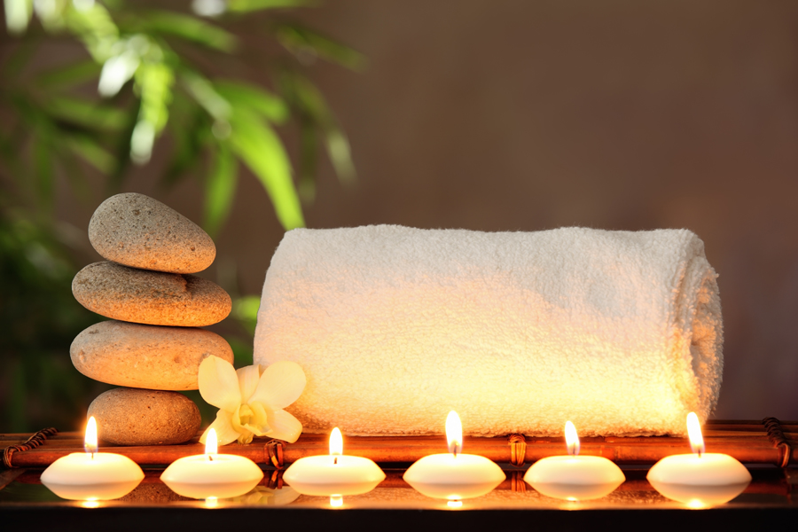 Zen Stones, Towel and Aromatic Candles
