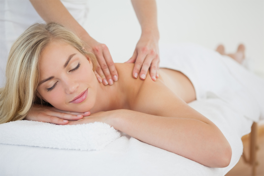 Woman Receiving Shoulder Massage