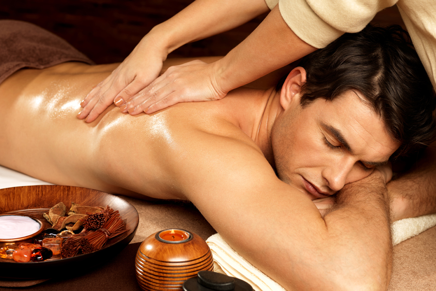 Relaxed Man Having Back Massage